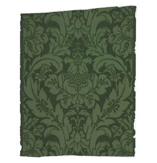 Paper with dark green ground has large-scale stylized foliate and floral design printed in medium green.
