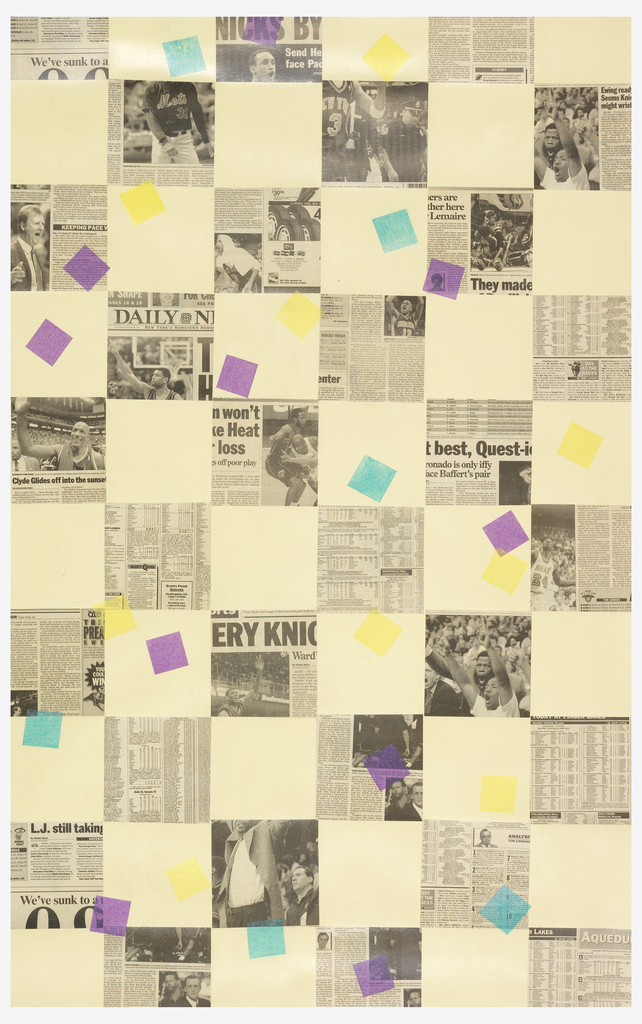 Grid pattern created with large squares cut from newsprint on a beige ground.  Also contains accents of smaller squares cut from brightly color paper.
