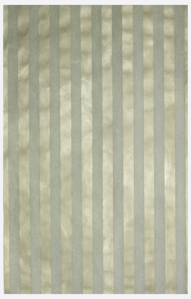 Gray stripes, about two inches wide, painted over metallic pewter-color ground.