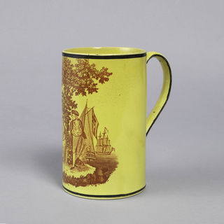 Depiction of couple in landscape. Woman seated and man standing looking towards her. Trees in background; sea and ship dock to right on yellow. Black rim above and on handle.