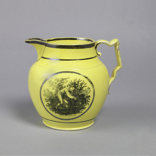 """Bulbous pitcher in yellow with pointed spout and angular and curved handle. Black border on rim and base. Depicts young man collecting wheat in circular frame. Below, inscribed: """"APPLICATION""""."""