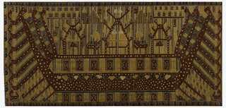"Horizontally rectangular panel with a ""ship of the dead"" design. A large symmetrical ship carrying three highly stylized figures and surrounded by abstracted waves. Design in dark blue, brick red, and white with metallic details on an undyed cotton ground. Umbrella-like forms on ship could be ancestor shrines."