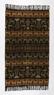 Rectangular panel with fringe at both ends, patterned in warp ikat of red, dark brown, blue and off-white. Design of horizontal bands with rows of shrimps, lobsters, roosters, horses, and some small snake or 'naga' forms. Central band features patola-inspired design. Fringed at two ends.