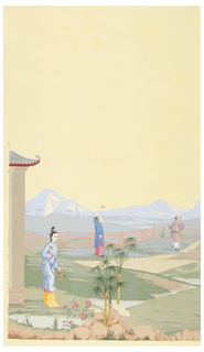 Man carrying a bird cage, in middle distance. Mountains in distance. Width numbered 9 at bottom.