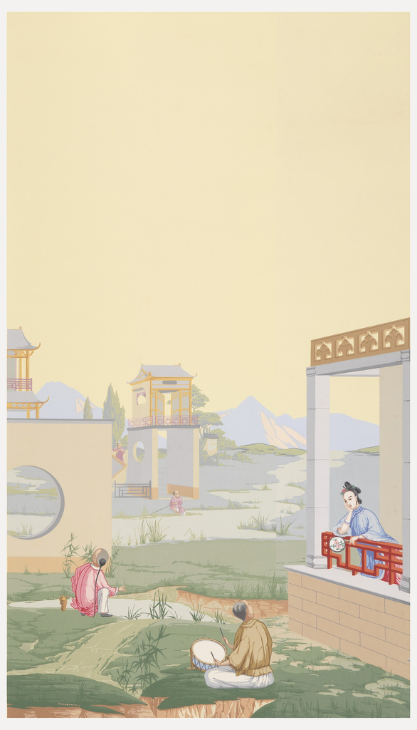 In foreground, seated man with drum and sticks. In middle distance, portion of a meandering stream, a child seated on far bank at the base of a two-story garden house. Mountains in distance. Width numbered 20 at bottom.