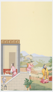 Portion of a square summer house, a woman carrying a basket of flowers standing on a flight of steps in the foreground. Vase of porcelain stands on plinth at foot of steps. Width numbered 22 at bottom.