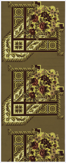 Roses and other flowers set within cable molding framework. Printed in reds, pink and yellow on deep tan ground. Ceiling border corner.