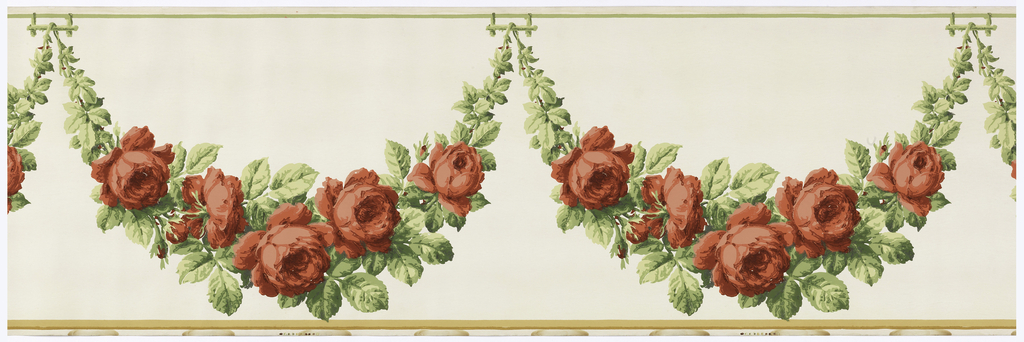 Large scale floral swag with red roses suspended from rustic supports. Fine green line across top edge, wider tan band across bottom edge. Printed in red, green and tan on off-white ground.