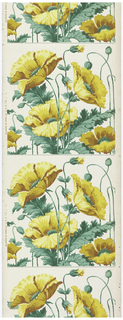 Art nouveau-style design. Large-scale yellow poppies on green stems printed on white ground. Design repeats vertically and would need to be cut apart to work as frieze.