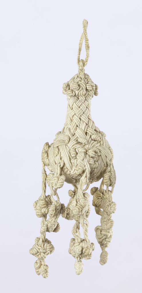 Pear-shaped linen tassel, braided and knotted. Double loops are attached to pear-shaped unit from which hang seven braided and knotted elements (including center).