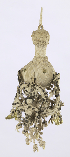 Pear-shaped center unit from which hang elaborate knottings in the forms of two male and two female figures, alternating and attached to one another.  The figures are ornamented with metal wire.
