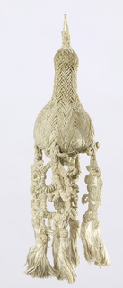Tassel of linen, braided and knotted. Single loop attached to short stem which terminates in pear-shaped tassel from which hang elaborately knotted elements which in turn terminate in small fringed tassels.