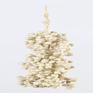 White linen tassel with three balls connected to one another by a braided stem to create a three-tiered base. All three balls are covered with tiny knotted balls.