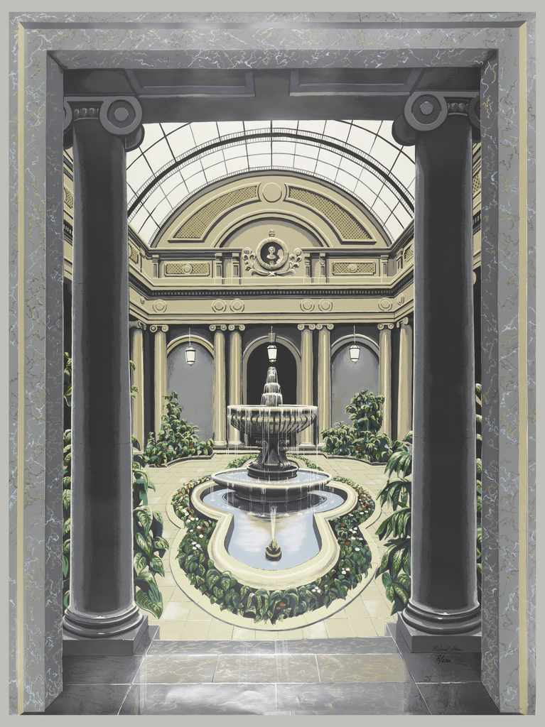 Design of architectural interior of a garden court (like the Frick). The courtyard contains a fountain with cement frogs, ionic columns, flowers and plants, hanging lanterns and a glass atrium.