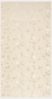 All-over pattern of stylized stenciled mica flowers (cherry blossoms?) in gray, pink, and white with gray branches on tan ground imitating grass cloth; horizontal repeat printed in rows.