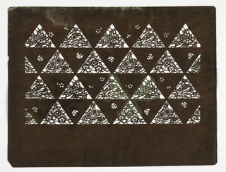 Horizontal pattern of triangles filled with floral motifs.