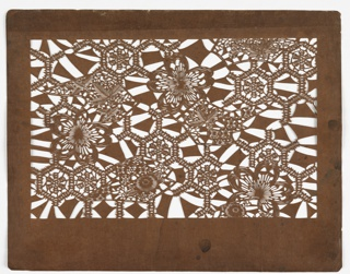 Allover pattern with floral motifs on abstract background.