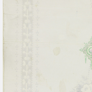 Vertical rectangle. Gray stripes to either side of wide white band decorated with small clusters of gray flowers and pendant of green and gray, repeating vertically.