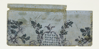 Portion of a cartouche outlined in pink and violet, set with pink and green arrow heads; to right and left, trailing flower garlands, blanked by floral sprays. The register of the printing is not accurate, and varies in the two pieces. The paper is light brown, of coarse texture. -a was formerly used as a book cover.