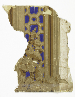 Fragment showing a grille or fretwork between simulated moldings, with a spray of stock or hollyhocks.