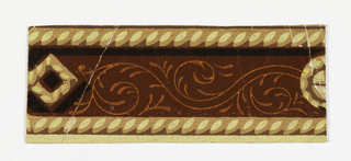 Rectangle with cable molding or rope twist along top and bottom edges. Part of a square and part of a circle, composed of cable molding, at respective short sides. Between, strip of red flock overprinted with foliate rinceaux in bright orange.  Printed in yellow and brown distemper and red flock.