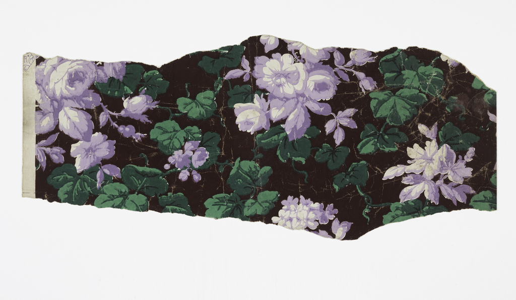 All-over pattern of roses. Printed in greens, violets and black on unprimed ground.