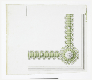 Corner for a wallpaper border. To be used to continue borders which outline panels or dados. Green and white ribbon with corner rosette, on a white polished  or satin ground.