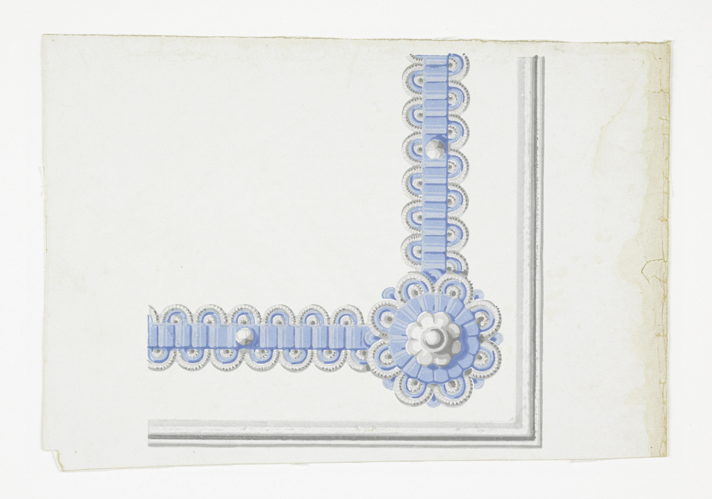 Corner for a wallpaper border. Serves for occasions when borders are used to outline panels or dados. Blue and white ribbon with corner rosette, on white ground.