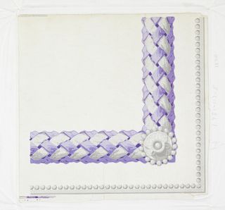 Corner for border used to frame panel or dado. Band of plaited purple ribbon and white straw with white rosette at the corner. Also outer bead molding.