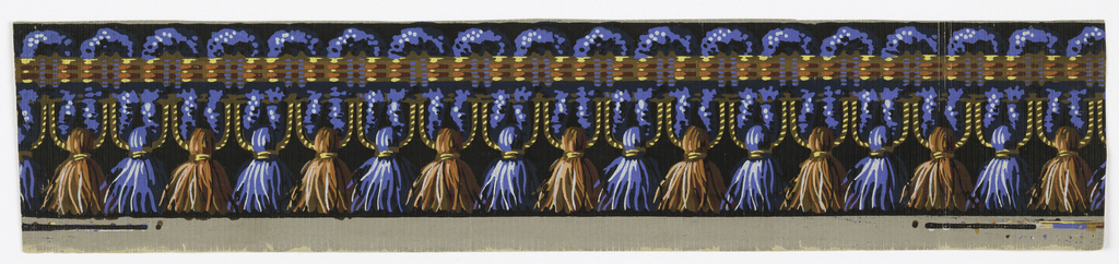 Passementerie or fancy gimp border. Serpentine blue cord forming loops above and below a horizontal plaited multi-colored band. Along the lower side the loops terminate in tassels, alternately red and blue. Printed on gray ground with vertical ribbing.
