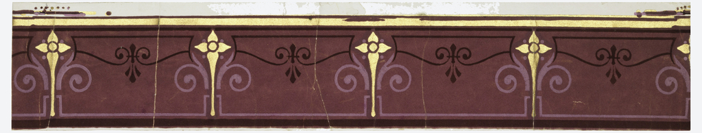 Narrow border, with stylized floral motif, in pink and gold, on a burgundy flock ground. A gold band runs along the top edge.