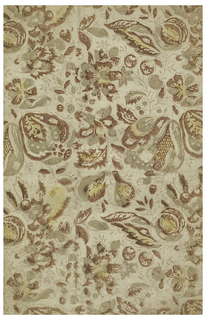 Small scale pears and foliage printed in thin oily colors. Printed in browns, beiges and yellow.