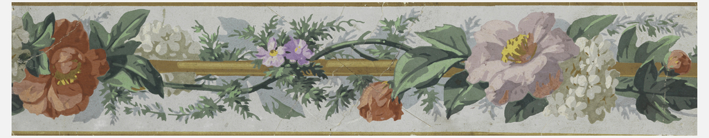 Narrow border containing a rod and vining floral twist. The flowers are vaious shades of pink, lavender and gray. Printed on a pale green-blue ground.