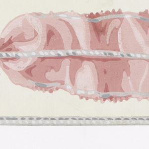 Printed on ribbed paper, between gray edging lines with imitation stitching, pink ribbon with gray edge, crumpled, pinched in by central decorative cord; moire-effect ground.