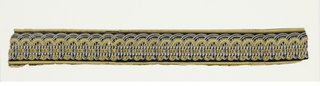 Narrow passementerie border in imitation of upholstery gimp. Printed in yellow, brown, and white on a black ground. Edge lines of same colors.