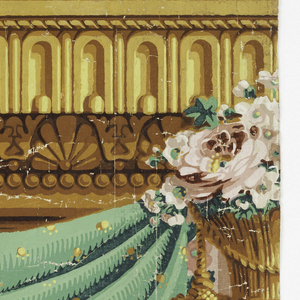 Green drapery frieze with large-scale pink flowers and gold tassels, suspended from ornate architectural molding.