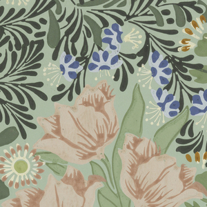 Very dense pattern of tulips and lilies, with foliage. Printed in pink, green, blue and white on green ground.