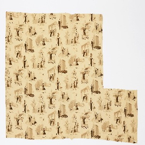 Piece of ivory silk printed in four shades of brown with vignettes of city life: traffic police, a roller skater, a woman in the park with two little girls, a man and woman walking down the street with a dog, etc.