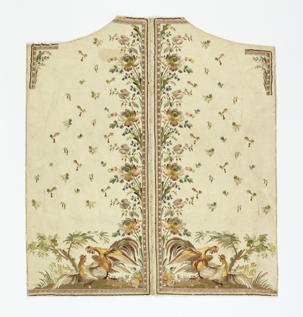 Incomplete waistcoat, embroidered in multicolored silks with a pattern of a cockfight and a border design of flowers on a white ribbed silk.