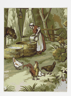 Vertical rectangle. Landscape paper, with portion of a barnyard scene; largely printed in shades of green, showing a woman pouring water into a large vat, a horse finishing drinking from another vat, and a cock and three hens in foreground.