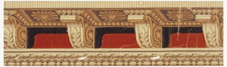 Simulation of a cornice resting upon medallions, with ogee and bead-and-reel mouldings below. The soffit of the cornice, and the medallions, are rendered in perspective, as seen from below. Printed in browns, yellow, white and red.