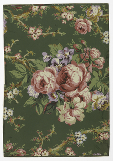Full width giving more than one repeat of pattern suggesting chintz, with slender tree-forms set with large and small rose clusters. Paper embossed with transverse ribbing.