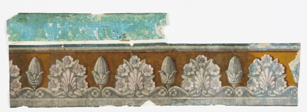 "a) The upper portions of thickly set trees are seen. Leaves are printed in blue and black. Branches are brown. Pale blue sky above; b) Border containing grisaille palmette and floral motif alternating with bud form against yellow flock field; c) Fragment of end piece of a scenic, bears inscription ""24"". Found on back of ""b""."