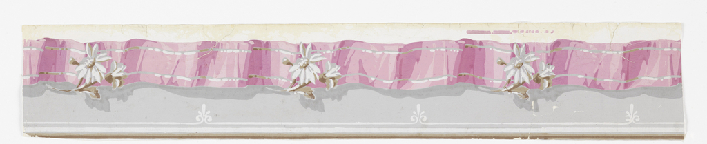 At top, an undulating pink ribbon printed with moire design, with two narrow parallel white stripes, upon which is placed in intervals a white daisy with buds and leaves. The ribbon overhangs a plain gray field ornamented further down by a thin white band broken at intervals by floral sprigs. Molding bands at bottom. Printed on white ground.