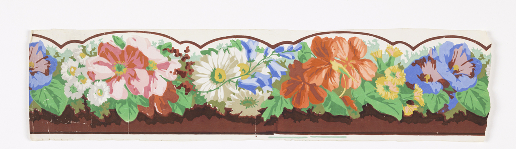 Horizontal band of flower clusters in bright colors with green leaves. Below this a brown field. The white ground at top has a brown curving line which indicates that the edge is to be cut in a scallop or swag design.