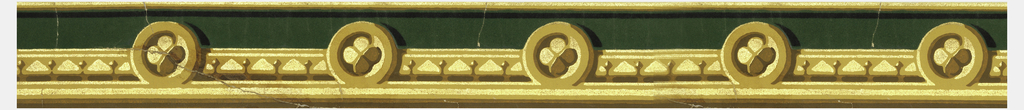 Green flock; surmounted by dentil molding and quatrefoils enclosed in circles done in buff color, and gilt.