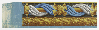 Blue and white drapery intertwine about gold-colored rod and pass through ring and clasp of stylized acanthus leaves, also gold-colored. Same style acanthus leaf forms upper border. Trompe l'oeil.
