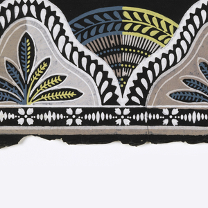 A single row of ogival shapes with twisted rope edges, side by side, in the foreground. Each shape contains a foliate sprig. Between, and appearing behind, each of these shapes is a circular motif with a band of laurel leaves. Printed in shades of light brown, teal, ocher and white against a black background.  H#612