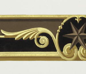 This design consists of a six-pointed star enframed in a winged oval, each separated by rayed lozenges against a half-flocked background band. Printed in black flocking, yellow, gold, browns and tan.  H# 190