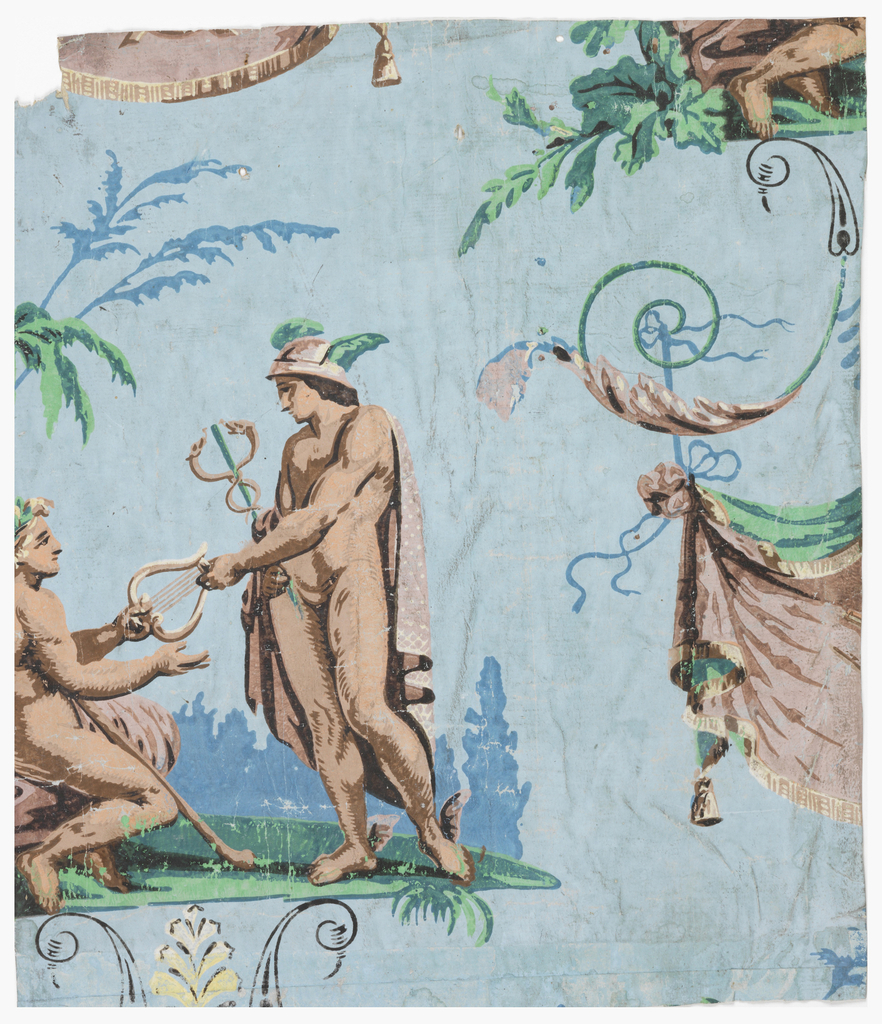 "Composed of two scenes. First: Mercury, holding a winged staff entwined with the two serpents (caduceus) and wearing a broad-brimmed winged hat (petasus), winged sandals, and a dot pattern cape, hands a lyre to another figure, possibly Apollo, wearing a laurel wreath.  Figures are on a landscape background with palm trees.  Second: draped fabric with tassel and fringe including elements of a globe, telescope, possibly a compass, and a ring of stars.  Fabric hangs from an anthemion or palmette.  Printed in shades of blue, shades of green, and shades of brown on a blue ground. ""a"" is composed of three parts.  H# 353"